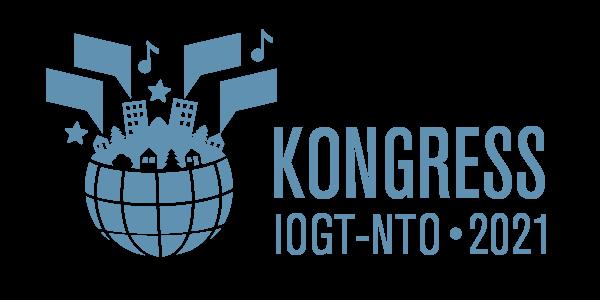Logotyp för IOG-NTO:s kongress 2021. Innehåller en glob med ett landskap som ersätter toppen. Från husen kommer pratbubblor, stjärnor och noter.